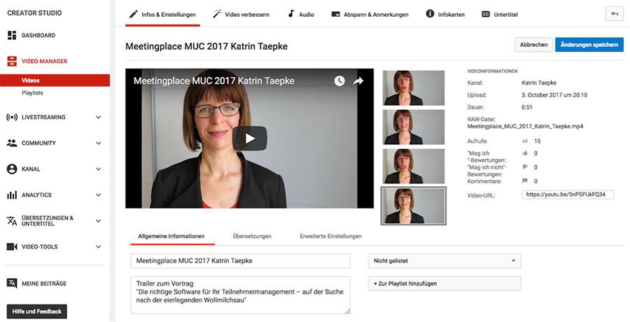 Video auf YouTube bearbeiten