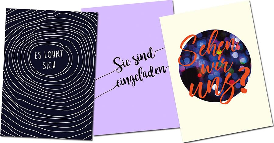 Postkarte - Einladungsmotive für Events