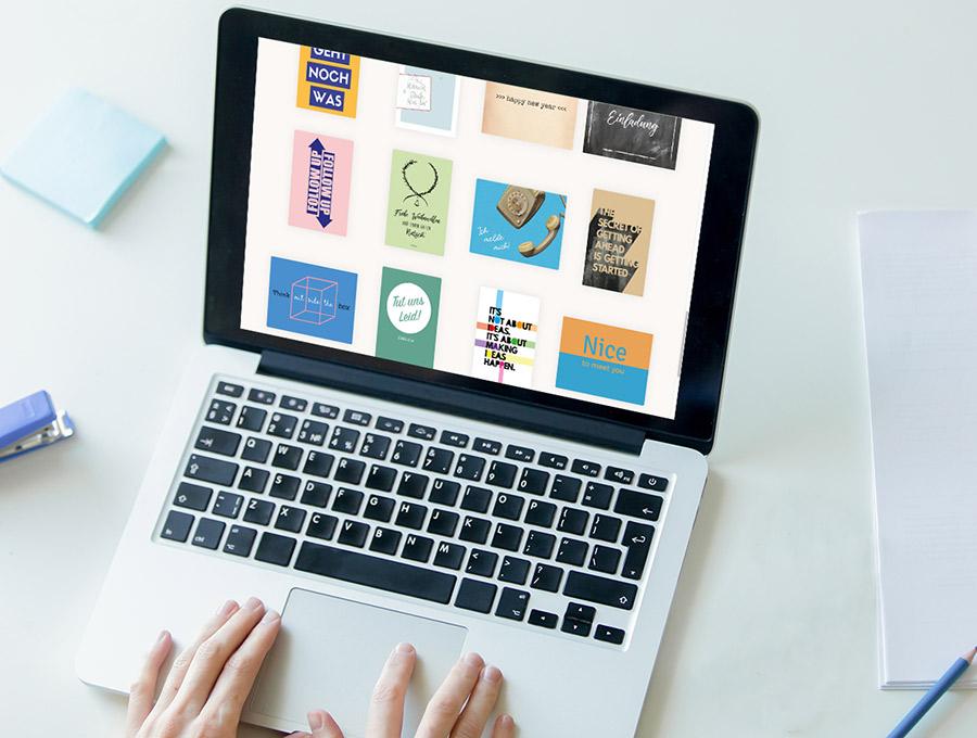 Postkarte schreiben dank Motivauswahl am Laptop