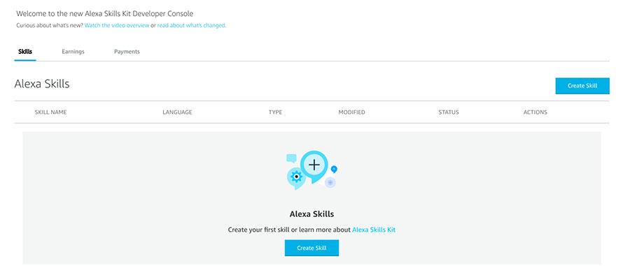 Alexa Developers Konsole - neuen Skill anlegen