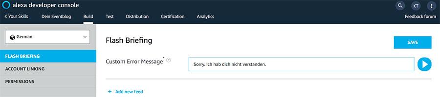 Alexa Error Message