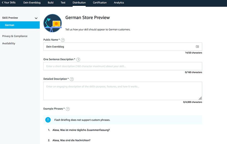 Distribution-Amazon Alexa GermanStore