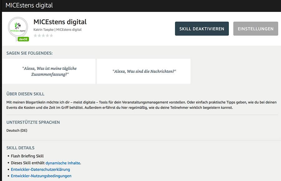 MICEstens digital im Alexa Skill Store