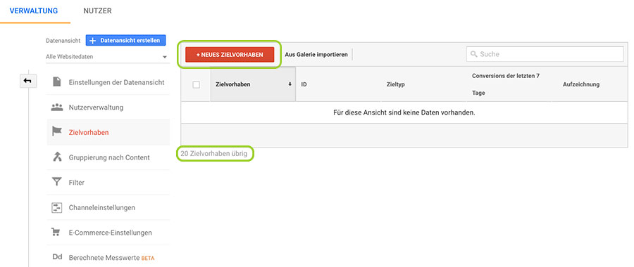 Google Analytics Zielvorhaben anlegen