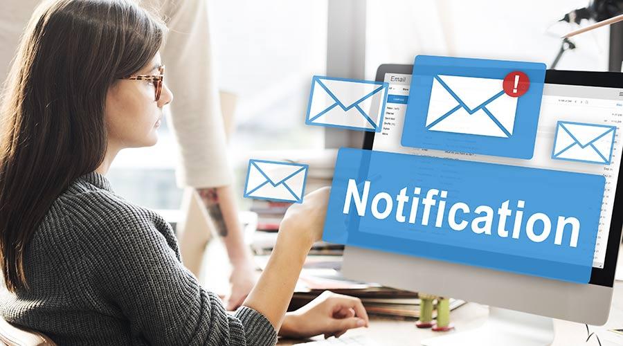 Benachrichtigungen für E-Mails
