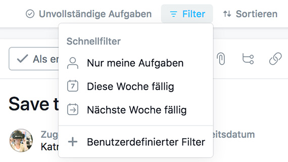 Filterfunktion in Asana