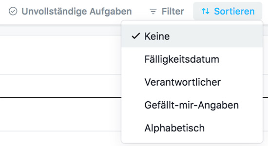 Sortierfunktion in Asana
