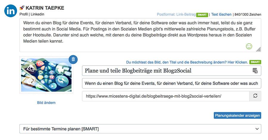 Blog2Social: Blogbeiträge planen und anpassen