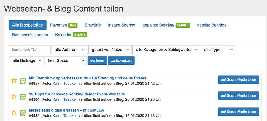 Blogbeiträge und anderen Content teilen mit Blog2Social