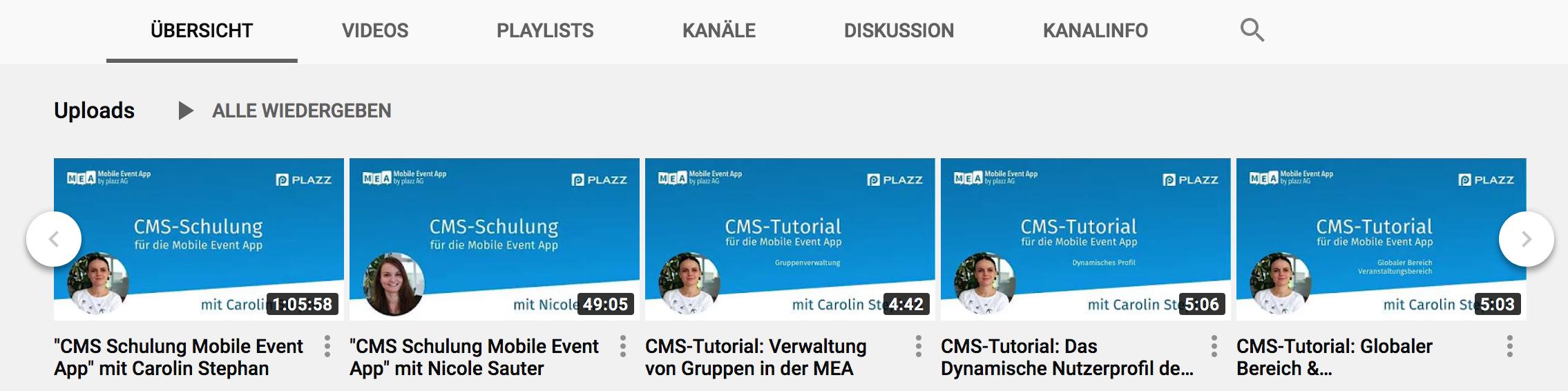 Youtube-Kanal mit Anleitungen für die Event-App von plazz