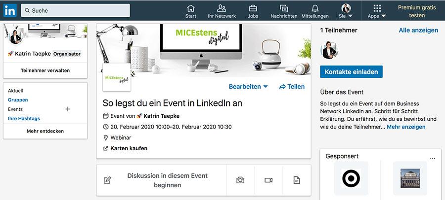 so sieht das fertige Event in LinkedIn aus