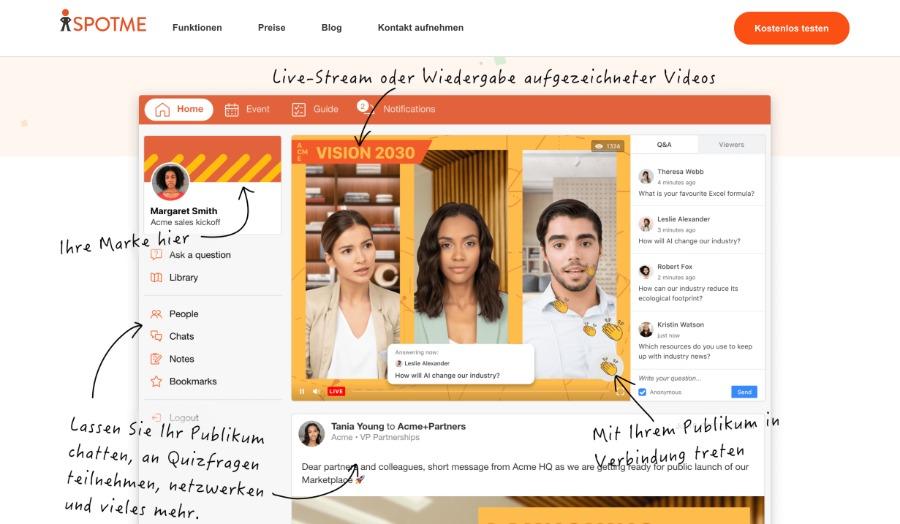 Event-Plattform SpotMe mit virtuellem Applaus