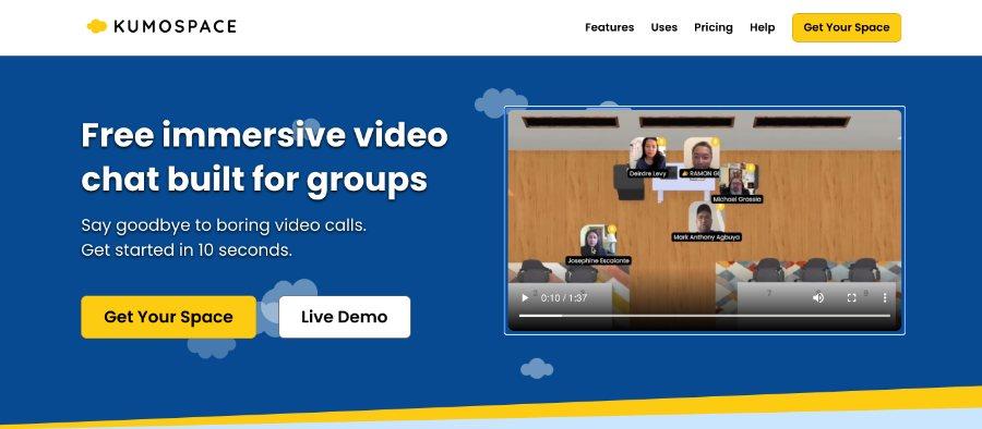 Kumospaces: Videochat für Online-Events