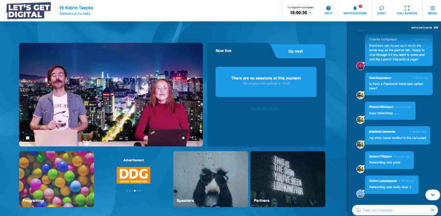 Lobby von Let's Get Digital | Event Insight