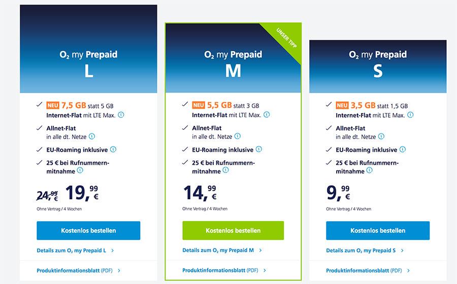 Prepaid Datenvolumen bei O2 Stand 14.03.2020