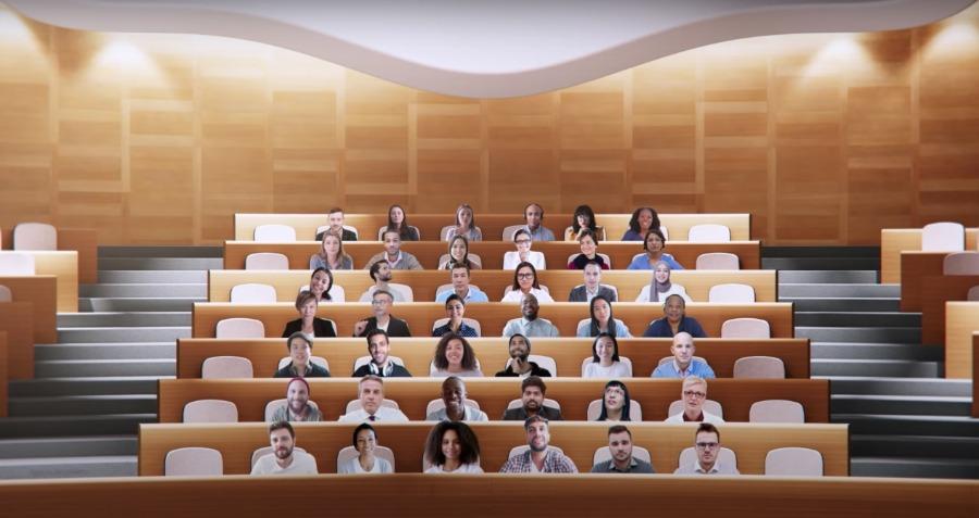 Together Mode statt Kachelansicht für Videokonferenzen mit Microsoft Teams