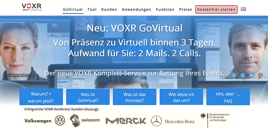VOXR GoVirtual für digitale Events