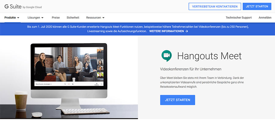 Videokonferenzen mit G Suite | Google Hangout | Google Meet