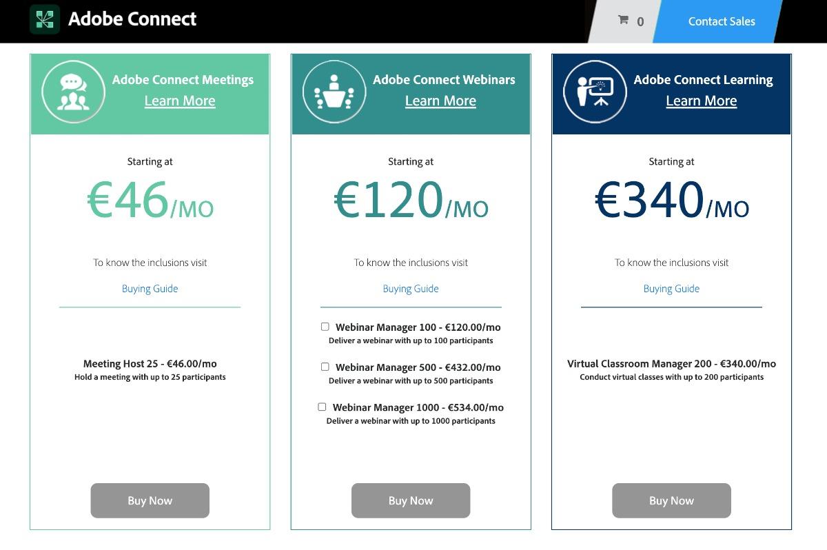 Preise von Adobe connect | Stand 5. September 2021
