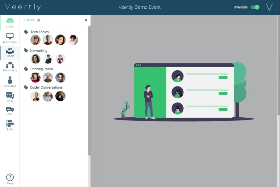 veertly für virtuelle Events | Networking in Räumen