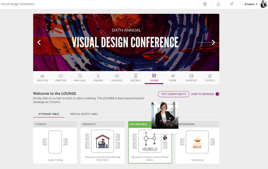 virtuelle Tische fürs Online Networking mit Hubilo