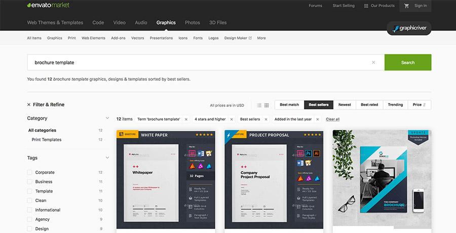 Grafikvorlagen für professionelle Designs bei envato markets