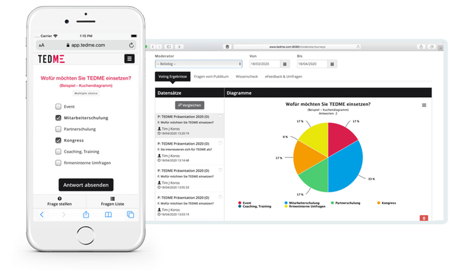 Voting auf mobilen Geräten mit dem Interaktionstool von TEDME