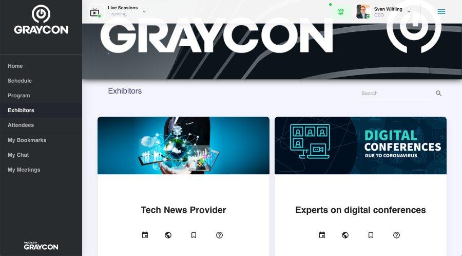 Aussteller auf der Plattform von GRAYCON