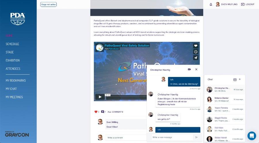 Chat auf Feed bei Online-Event mit GRAYCON