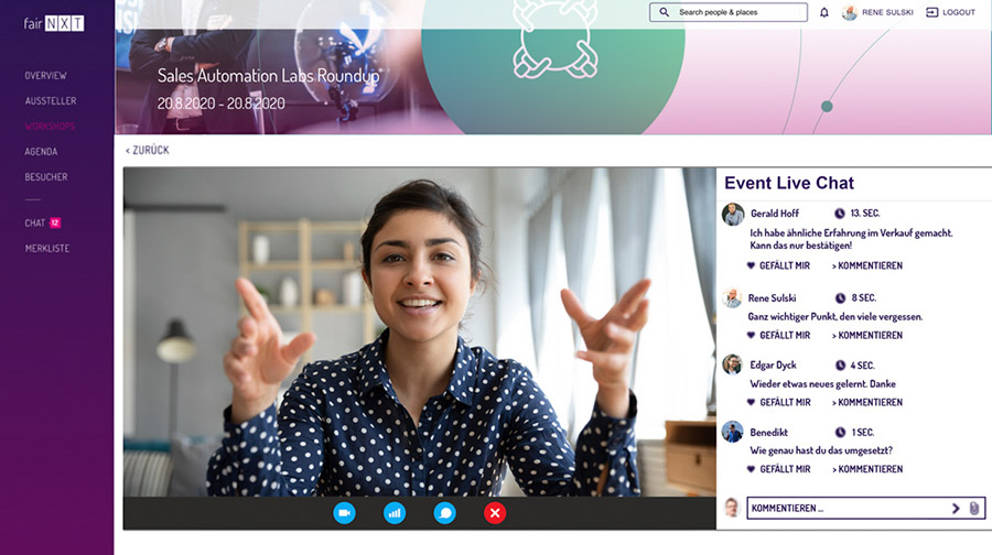 Event-Live-Chat bei Online-Events und Webinaren mit fairNXT
