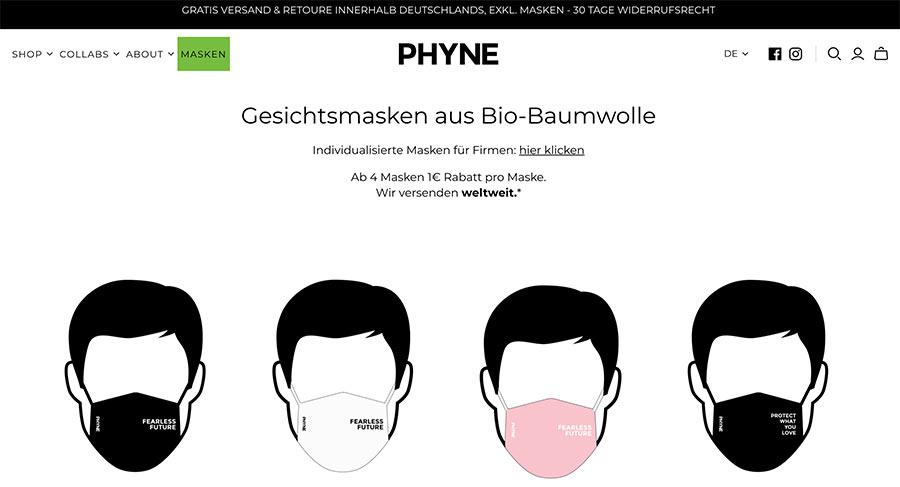 Gesichtsmasken für Events von Phyne