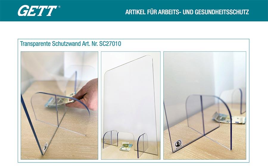 Transparente Schutzwand von GETT