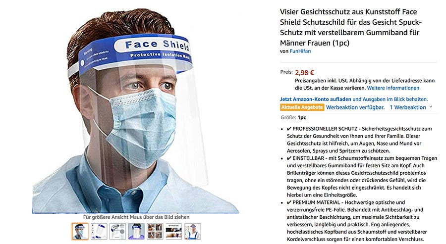 Visier-Gesichtsschutz für Events