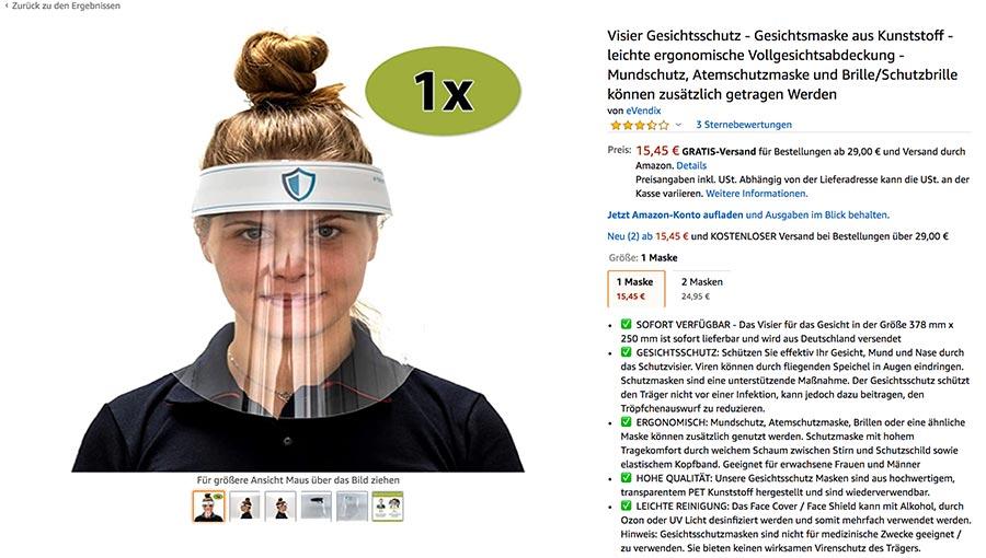Visier Gesichtsschutz für Veranstaltungen von evendix