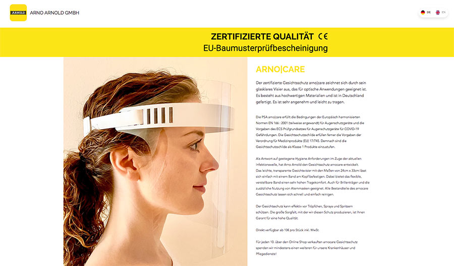 arno|care Gesichtsschutz für Events