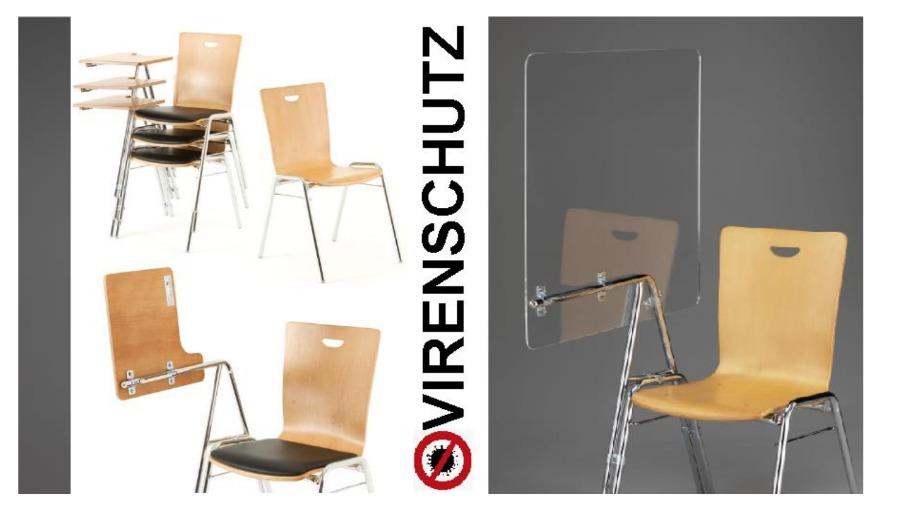 transparenter Virenschutz an Konferenz Stühlen vom Stuhlpapst