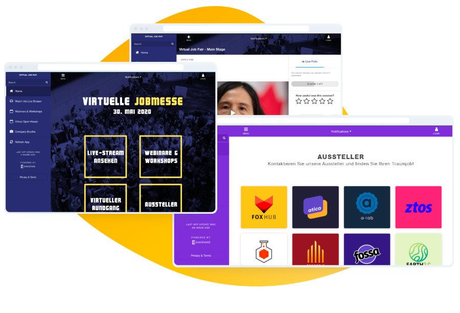 Virtuelles Eventportal: Interaktionen und Design
