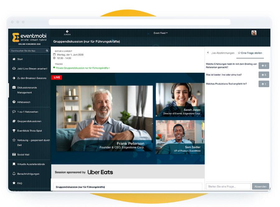 Virtuelles Eventportal mit Interaktionen