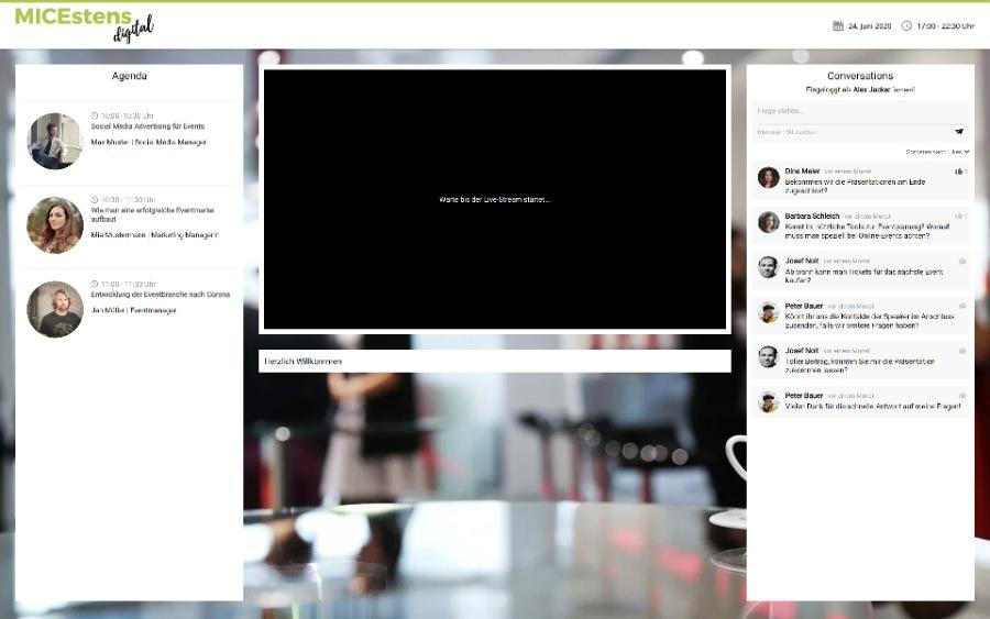 Vorschau auf die virtuelle Event-Bühne bei ticketareo