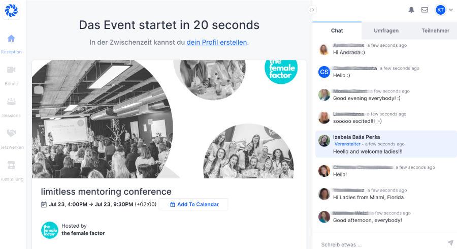 limitless mentoring conference auf der Event-Plattform Hopin