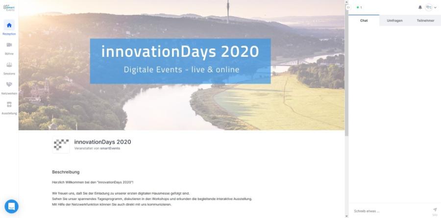 virtuelle Konferenzen und Kongresse mit smartEvents | hier der Eingangsbereich