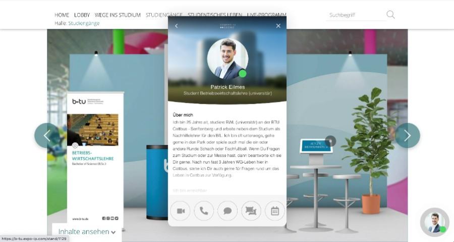 Videosession, Bildschirmteilen, Live-Chat, Terminvereinbarung, direkt auf den Stand – alles über die digitale interaktive Visitenkarte eines Experten