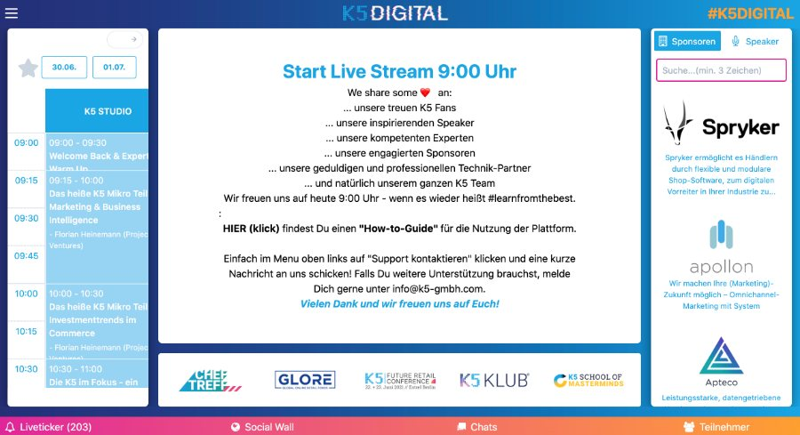 K5 Digital | virtuelle Eventplattform von Events66 | hier: Begrüßung