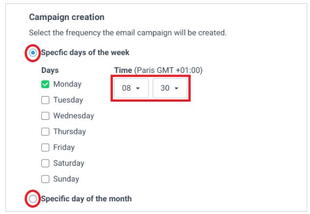 Lege den Versandtermin des automatisierten Newsletters fest
