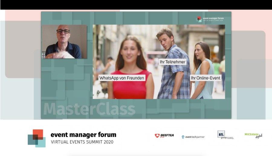 Event Manager Forum: Vortrag von ottomisu, Helge Thomas, mit eingeblendeten Logos