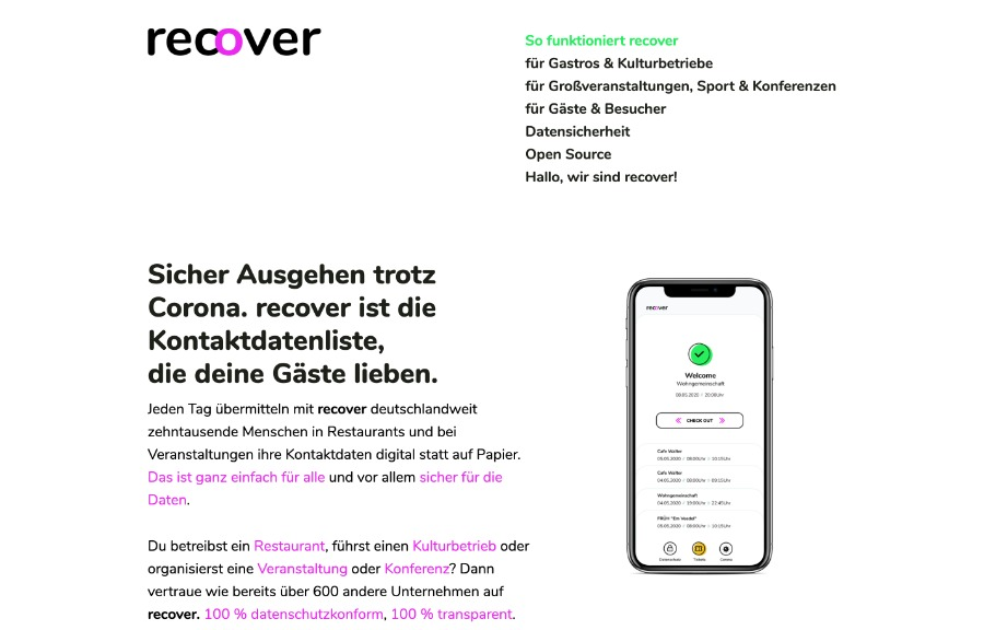 Recover App – für die Kontaktverfolgung auf Events