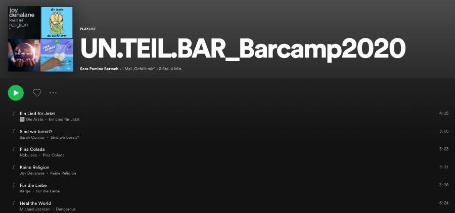 UN.TEIL.BAR BarCamp2020: Die Spotify Playlist mit der passenden Begleitmusik
