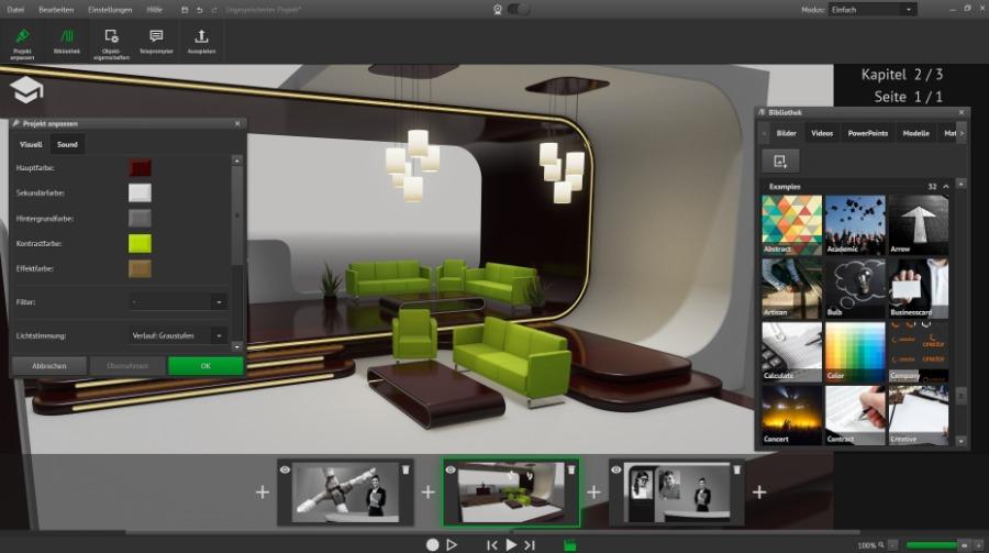 Cinector STAGE: die Vorlage für das Corporate Studio auswählen und bearbeiten