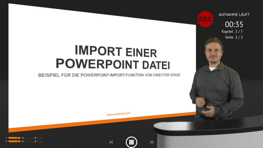 Einbindung von PowerPoint in Cinector STAGE