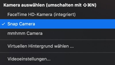 Snap Camera in Zoom auswählen